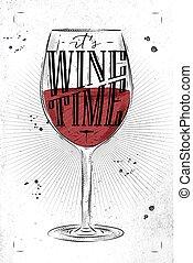 poster, wijntje, tijd