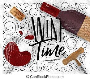 poster, witte wijn, tijd