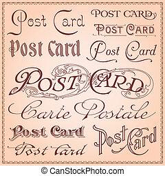 postkaart, ouderwetse , letterings