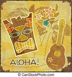 postkaart, retro, hawaiian