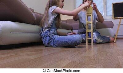 posturen, gezin, houten, spelraad, toren