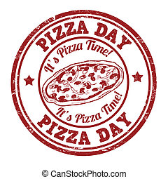 postzegel, dag, pizza