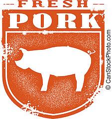 postzegel, fris, varkensvlees, ouderwetse