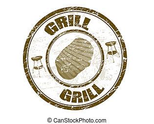 postzegel, grill