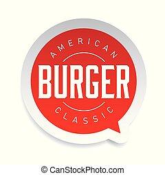 postzegel, hamburger, amerikaan, classieke, ouderwetse