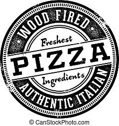 postzegel, menu, hout, afgevuurde, pizza