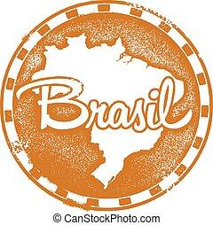 postzegel, ouderwetse , brasil