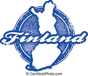 postzegel, ouderwetse , finland, land