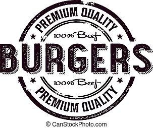 postzegel, ouderwetse , hamburger, menu