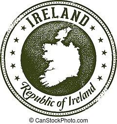 postzegel, ouderwetse , ierland, land