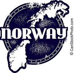 postzegel, ouderwetse , noorwegen