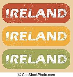 postzegel, ouderwetse , set, ierland