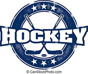 postzegel, ouderwetse , sportende, hockey
