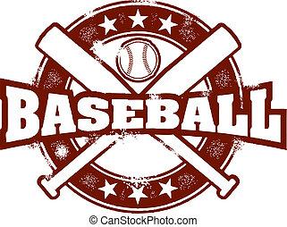 postzegel, ouderwetse , sportende, honkbal