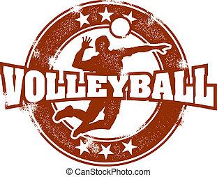postzegel, ouderwetse , sportende, volleybal