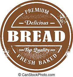 postzegel, ouderwetse , stijl, brood
