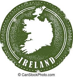 postzegel, ouderwetse , stijl, ierland, land
