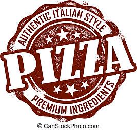 postzegel, ouderwetse , stijl, pizza, menu
