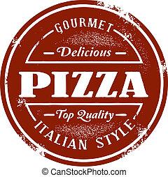 postzegel, ouderwetse , stijl, pizza
