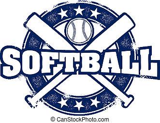 postzegel, ouderwetse , stijl, sportende, softbal