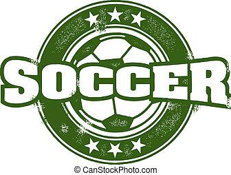 postzegel, ouderwetse , stijl, voetbalelftal