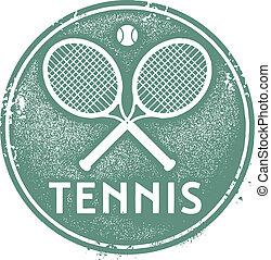 postzegel, ouderwetse , tennis, sportende