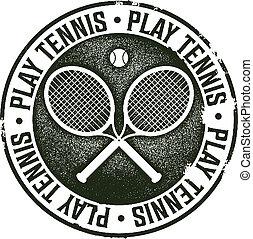 postzegel, ouderwetse , toneelstuk, tennis, sportende