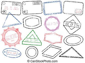 postzegel, post, of, paspoort, set.