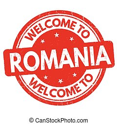 postzegel, roemenië, welkom, of, meldingsbord