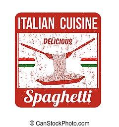 postzegel, spaghetti