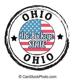 postzegel, staat, ohio, buckeye