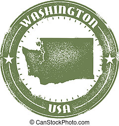 postzegel, staat, washington