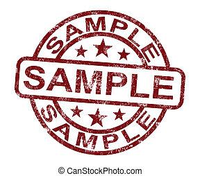 postzegel, symbool, of, staal, proeven, voorbeeld, optredens