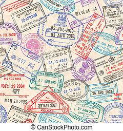 postzegels, paspoort, seamless, textuur