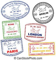 postzegels, set, paspoort