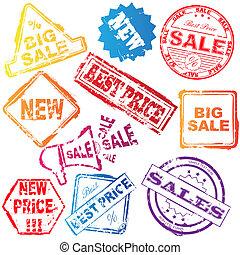postzegels, vector, verkoop