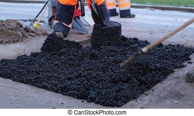 pothole, het leggen, asfalt