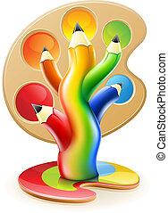 potloden, concept, kunst, kleur, boompje, creatief