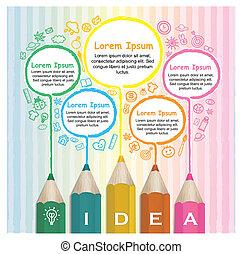 potloden, kleurrijke, creatief, infographic, mal, lijntekening