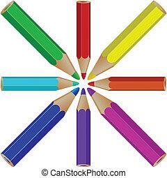 potloden, witte , tegen