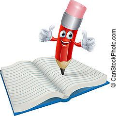 potlood, boek, spotprent, man, schrijvende