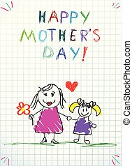 potlood, liefde, kleurrijke, werkjes, mamma, u, kinderen