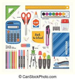 potlood, school, set, werkkring bevoorrading, rekenmachine, iconen, accessoires, illustratie, vrijstaand, briefpapier, pen, vector, achtergrond, teken, witte , opleiding, gereedschap, assortiment