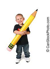 potlood, schoolage, groot, holdingskind, toddler