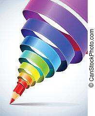 potlood, spiraal, creatief, mal, gekleurd, lint