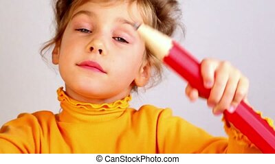 potlood, weinig; niet zo(veel), grote glimlach, meisje, houden