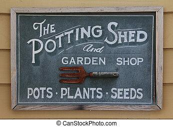 potting zonnescherm, meldingsbord, oud