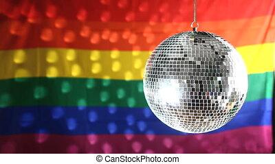 pr, vrolijk, disco bal, draaibaar, tegen