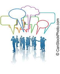 praatje, mensen zaak, netwerk, communicatie, media, kleuren