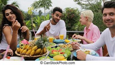 praatje, zittende , mensen, communicatie, eten, vegetariër, groep, gezonde , terras, tafel, voedingsmiddelen, pov, tropische , vrienden